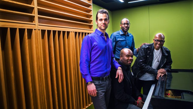 From left to right: Artist Matthew Michael, president Tony Alexander, executive Hamilton Hardin (at piano), and David Porter pose for a portrait inside Made in Memphis, a new music studio opened by Porter, a retired songwriter. The $5 million music studio is located at 400 Union Ave.