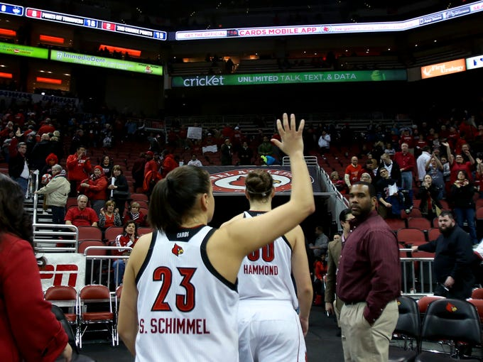 Senior Shoni Schimmel waves to the crowd as she walks off the court.  Tonight was her final regular season home game as a Cardinal.  Mar. 3, 2014