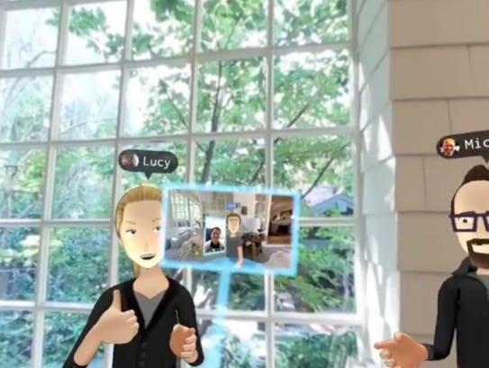Mark Zuckerberg's avatar (center in virtual selfie