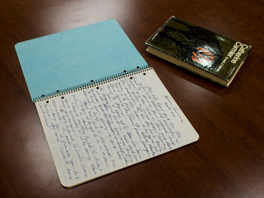 "Notes from the manuscripts of Ernest Gaines' 1964 debut novel ""Catherine Carmier"" are pictured at the Ernest J. Gaines Center in Lafayette, La., Tuesday, Sept. 23, 2014.  Paul Kieu, The Advertiser"