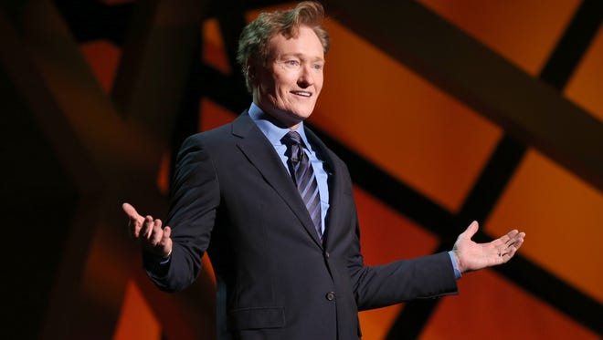 Conan O'Brien at the 2013 TNT/TBS Upfront at Hammerstein Ballroom on May 15, 2013 in New York City.