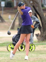 Wylie's Maddi Olson tees off during the final round