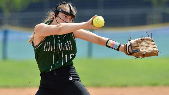 Midland Park's Emily Kontos pitches in the game against Paramus in Paramus on Saturday, May 6, 2017.