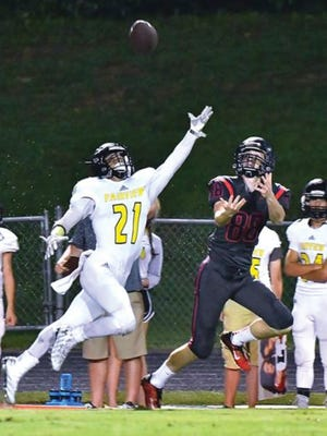 Fairview defensive back Khristian Harris breaks up a pass intended for Creek Wood receiver Zeke Lecomte in the August 27 on-the-road win for the Jackets.