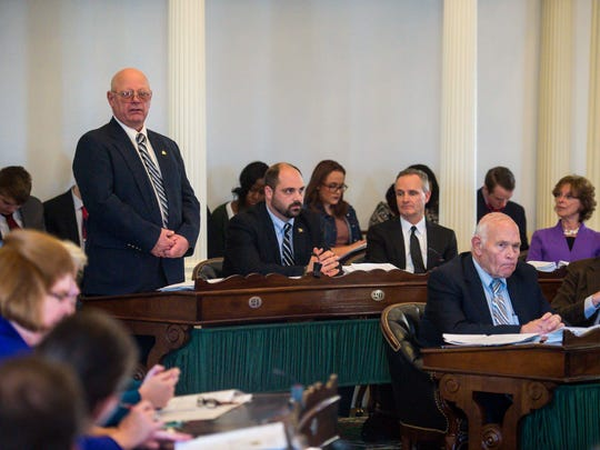 """Sen. Norm McAllister, R-Franklin, addresses his colleagues, saying """"I know I did not do anything,"""" during a debate to suspend him at the Statehouse in Montpelier on Wednesday, January 6, 2016."""