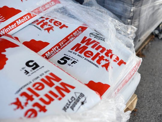 A pallet of ice-melt sits at Manchester ACE Hardware