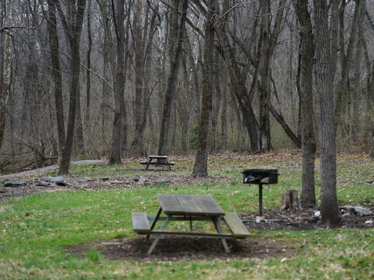 One of a few picnic tables just down from the Lock 12 parking area.