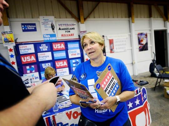 Ellen Landsberger, a volunteer with the Clinton campaign,