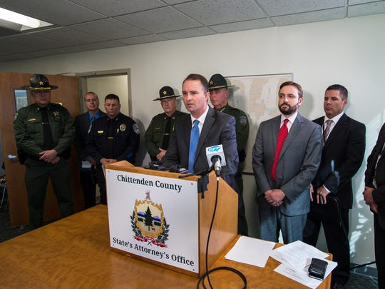 Chittenden County State's Attorney T.J. Donovan announces