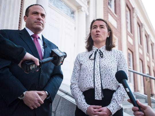 Burlington Police Chief Brandon del Pozo, left, and Chittenden County States Attorney Sarah George answer questions in Burlington on Thursday, February 23, 2017, about former Burlington officer Christopher Lopez who was dismissed after allegations of perjury.