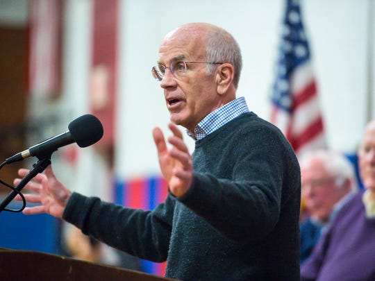 U.S. Rep. Peter Welch speaks during a town hall meeting held by Vermont's congressional delegation at Hazen Union High School in Hardwick on Saturday, March 25, 2017.