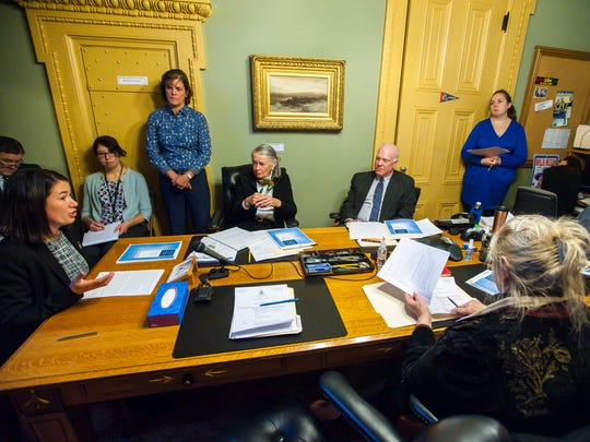 Members of the Senate Judiciary Committee listen at the Statehouse as Chittenden County States Attorney Sarah George, left, testifies in favor of a bill that would establish safe injection sites on Thursday, January 4, 2018.