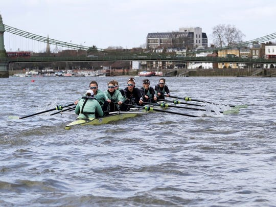 Watkins Glen native Olivia Coffey, second from front, rows for Cambridge against Oxford during the Cancer Research UK Boat Race on March 24 on the River Thames in London.