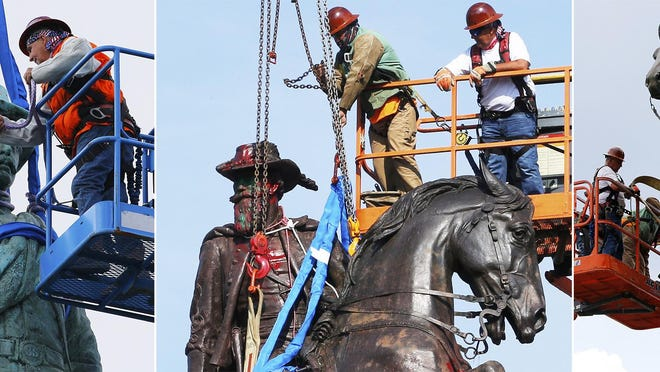 In this combination photo, from left, crews remove the Confederate Soldiers & Sailors Monument in Libby Hill Park in Richmond, Va., on July 8, 2020, the Confederate General J.E.B. Stuart on Monument Avenue in Richmond on July 7, 2020, and one of Confederate General Stonewall Jackson, also in Richmond, on July 1, 2020. At least 63 Confederate statues, monuments or markers have been removed from public land across the country since George Floyd's death on May 25, making 2020 one of the busiest years yet for removals, according to an Associated Press tally.