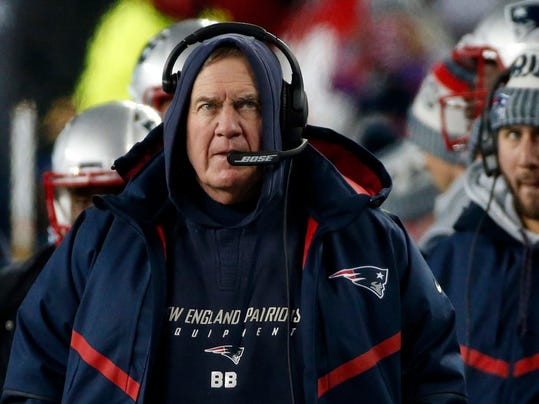 New England Patriots head coach Bill Belichick watches from the sideline during the first half of an NFL divisional playoff football game against the Tennessee Titans, Saturday, Jan. 13, 2018, in Foxborough, Mass. (AP Photo/Michael Dwyer)