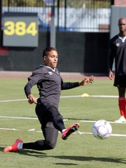Joaquin Alonso Hernandez practices at Southwest University Park on Tuesday afternoon. Hernandez, an El Pasoan, and the Bravos will play the Potros del Hierro of the Atlante league for the 2015 Apertura Championship of the Ascenso Mx League on Saturday.
