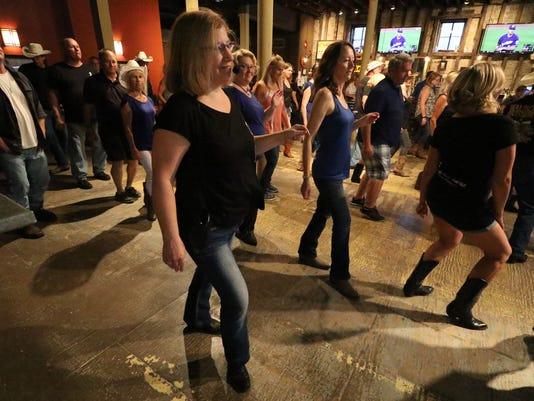 Line dancing at Bernie's Taproom in Waukesha