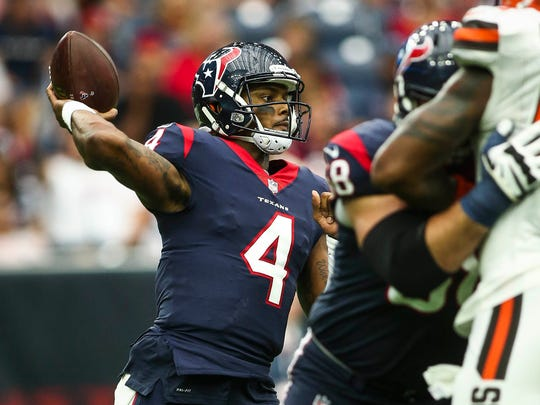Oct 15, 2017; Houston, TX, USA; Houston Texans quarterback Deshaun Watson (4) attempts a pass during the fourth quarter against the Cleveland Browns at NRG Stadium.
