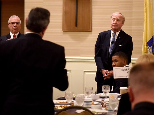 GOP Rep. Rodney Frelinghuysen (R-NJ 11th District) takes questions from the audience after making a public speech at the Morris County Chamber of Commerce Washington Update breakfast, his first since announcing his retirement. The breakfast was held at the Wyndham Hamilton Park Hotel in Florham Park on Monday, May 14, 2018.
