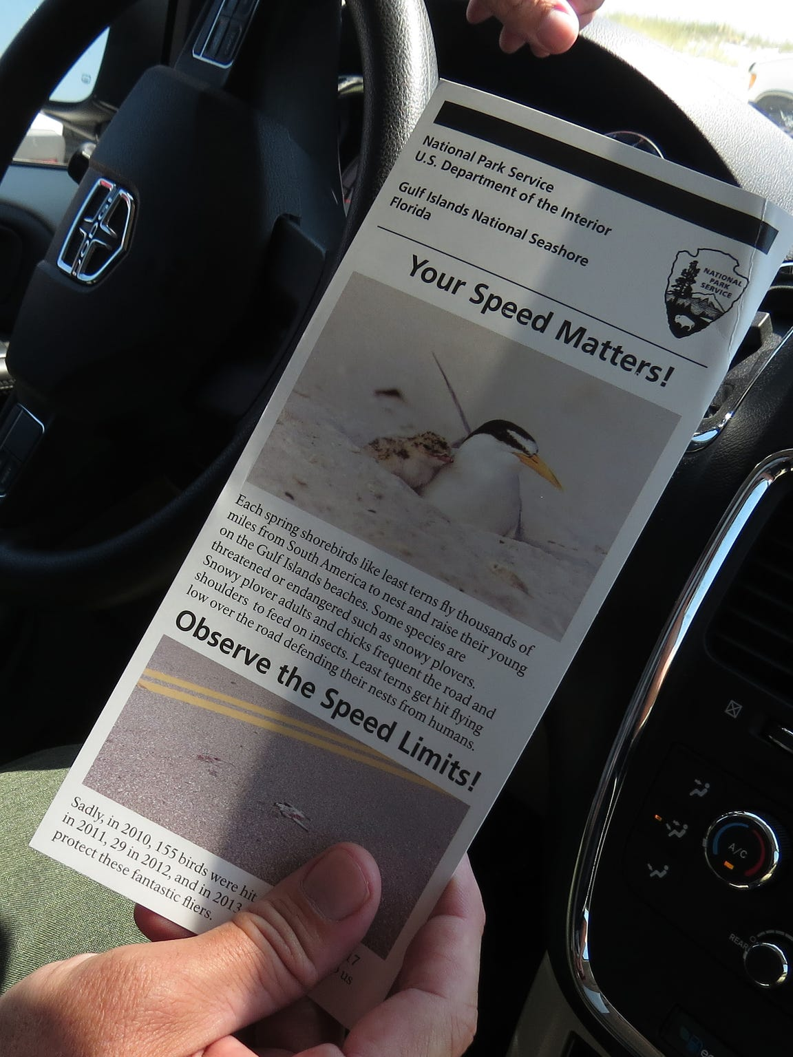 Pamphlets are passed out to motorists educating them
