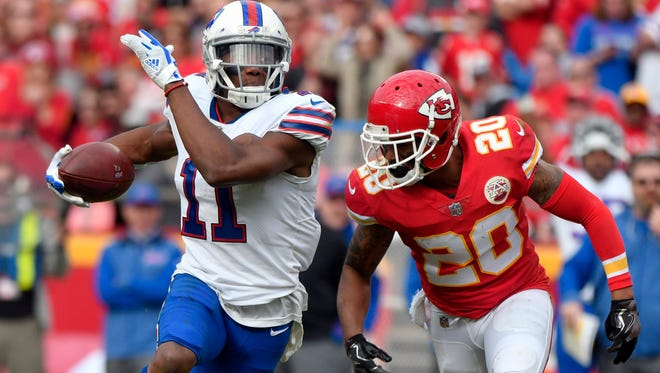 Buffalo Bills wide receiver Zay Jones (11) is pursued by Kansas City Chiefs defensive back Steven Nelson (20) during the first half of an NFL football game in Kansas City, Mo., Sunday, Nov. 26, 2017. (AP Photo/Ed Zurga)