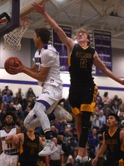 Spanish Springs' Jalen Townsell (32) drives past Galena's