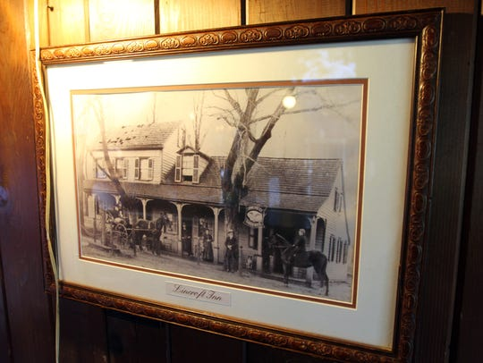 An old photo displayed inside the Lincroft Inn in Middletown.