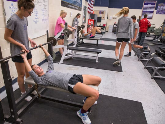 Players work out in a gym session this week as they prepare to compete in the 3A state soccer championship.