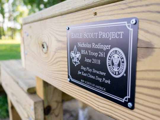 For his Eagle Scout project, 16-year-old Nicholas Redinger constructed a play structure at the East China Dog Park. Redinger, an incoming junior at St. Clair High School, said the project took more than 30 hours to complete.