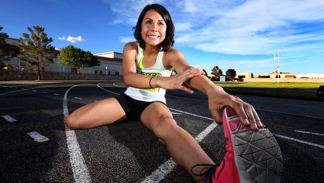 Haley Gonzalez of Montwood High and the Striders Track Club is headed to regionals in summer track next month. She recently broke the heptathlon record at a local meet.