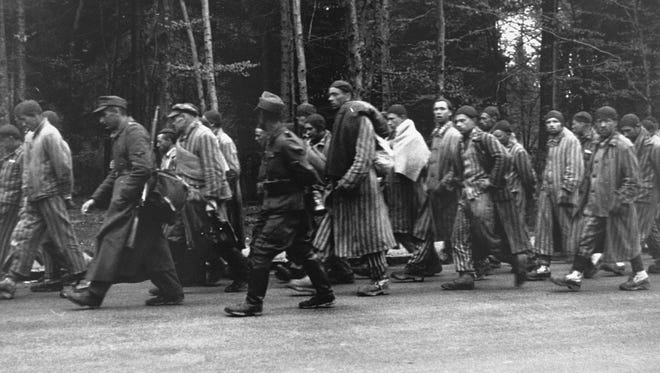 Prisoners on a death march from Dachau in 1945.