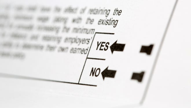 Yes or No voting choices for a proposition on a United States voting ballot