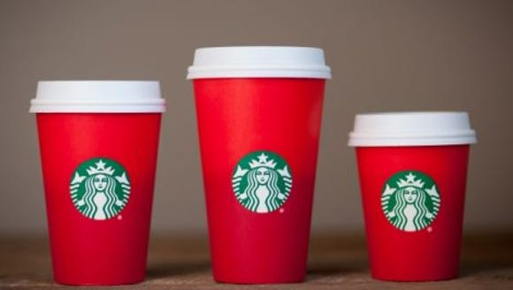 The new 2015 Starbucks holiday season cups.