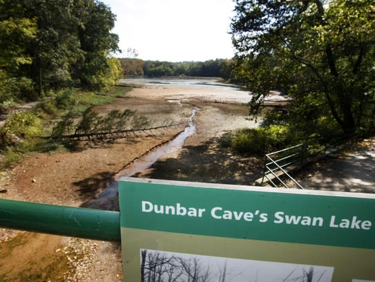 With water levels low at Dunbar Cave State Natural