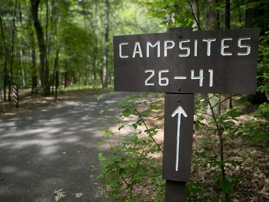 A campsite sign at Roche-a-Cri State Park near Friendship,