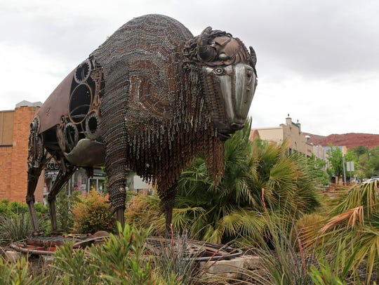 """""""Recycled Monarch,"""" a sculpture by Tim Little, is part"""