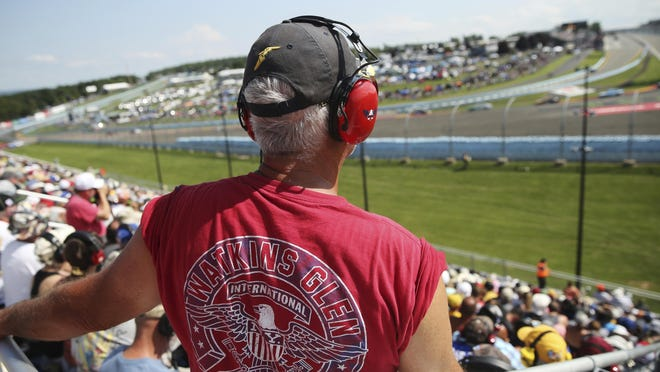 Fans watch from Turn 1 Aug. 4, 2019, during a Cup Series race at Watkins Glen International.