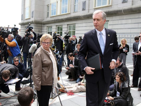 Senator Loretta Weinberg and Assemblyman John Wisniewski make a statement to the press outside federal court after David Wildstein plead guilty to Bridgegate charges in Newark, NJ Friday May 1, 2015.  Staff photo Tanya Breen