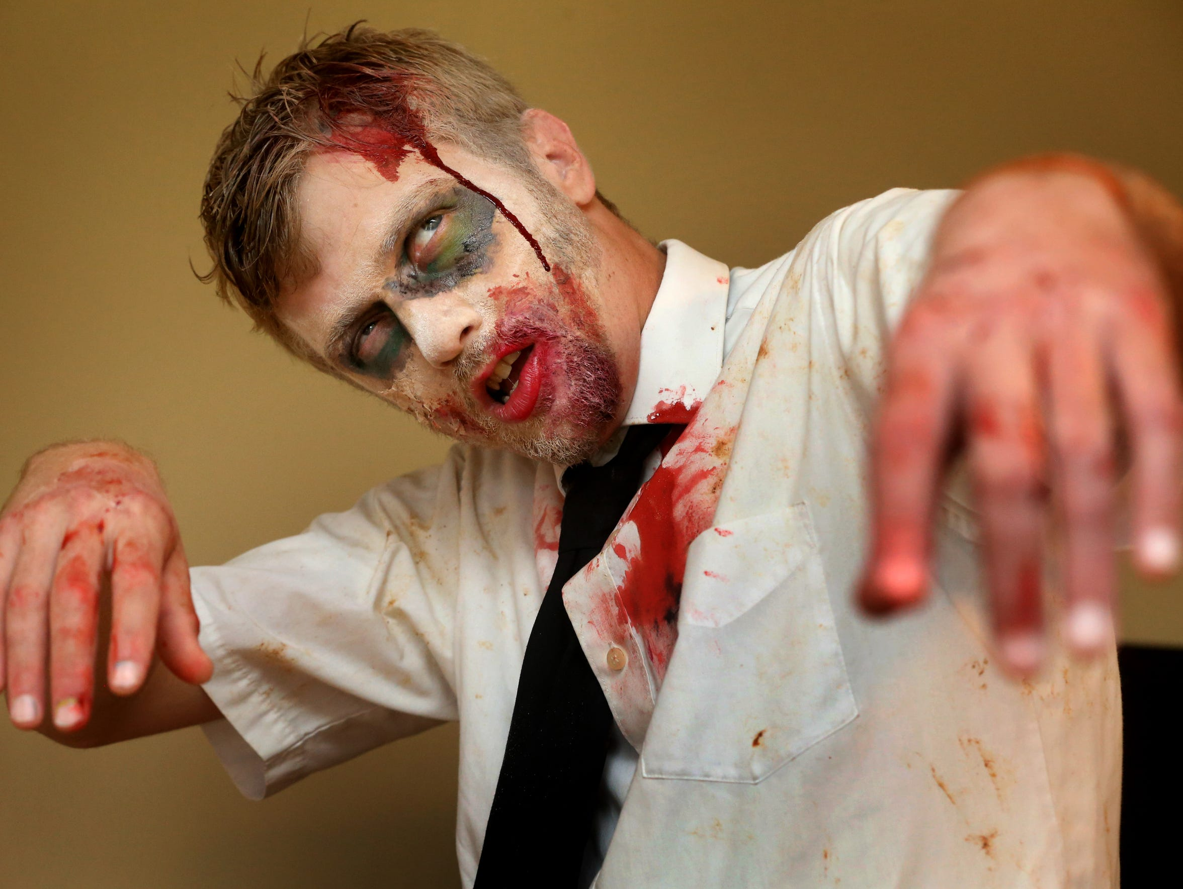 Ryan Frizzell sports his zombie look.