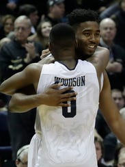 Butler's Kelan Martin and Avery Woodson celebrate after