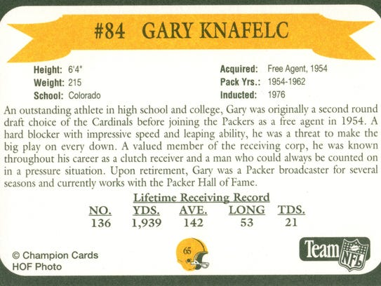 Packers Hall of Fame player Gary Knafelc