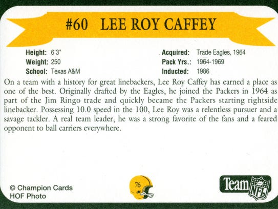 Packers Hall of Fame player Lee Roy Caffey