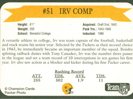 Packers Hall of Fame player Irv Comp