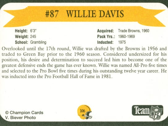 Packers Hall of Fame player Willie Davis