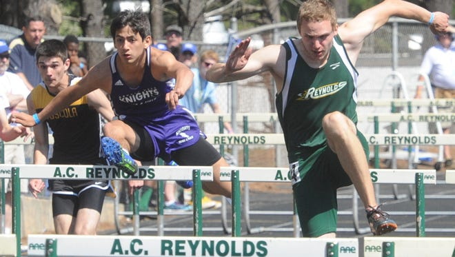 Hurdlers compete in the 2014 Blue Ridge Classic track meet at Reynolds.