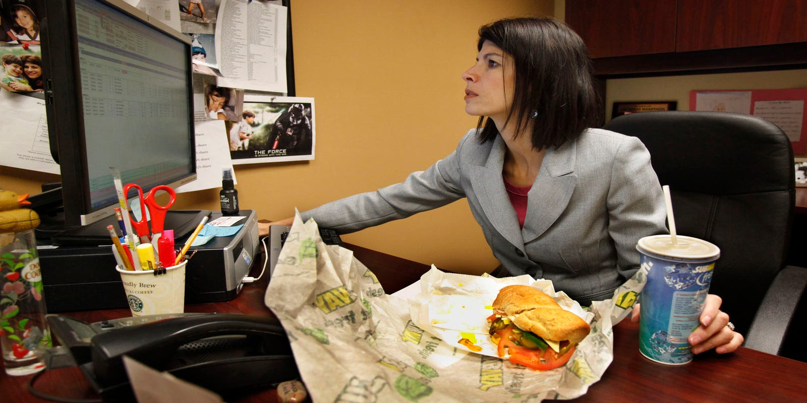 Eating at your desk your cubemates may be seething