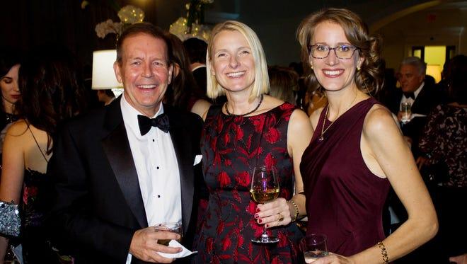Jerry Johnson, Elizabeth Gilbert and Shawn Bakker at the 2017 Nashville Public Library Literary Award Gala at the Nashville Public Library.