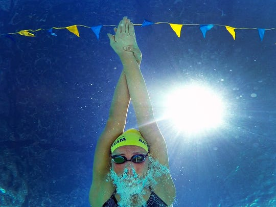 Scottsdale Aquatic Club and Chaparral High swimmer, Ashley Strouse, swims at Cactus Pool in Scottsdale on June 22, 2018.