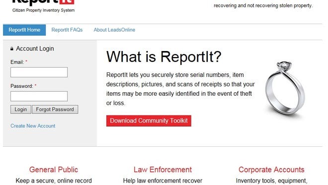 ReportIt helps police departments across the country track lost and stolen goods, and return them to their rightful owners.