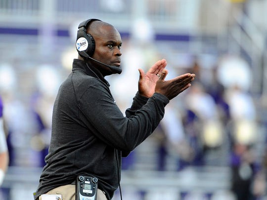 Former James Madison Dukes head coach Everett Withers  looks on against the Richmond Spiders during the first half at Bridgeforth Stadium. Mandatory
